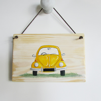 Yellow Beetle Car Plaque