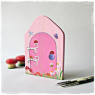 Pink Fairy Door, hand painted onto wood, whimsical and magical for Children