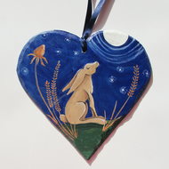 Hare Gazing at the Moon, Autumn Hare Hanging Heart