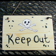 Keep Out Plaque skeleton , scull and cross bones, dad gift, shed,