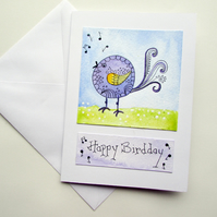 Happy Bird day Birthday Card, hand painted bird picture