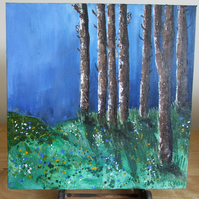 Trees, Acrylic Painting 12x12inch canvas, Original Painting