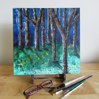 In the Wood, Tree Painting on Canvas, Original Painting