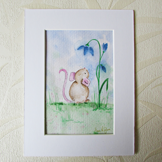 Mouse & Flower Painting, Nursery Art,