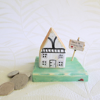 Tudor Style Little House, Miniature Wooden House on a Base