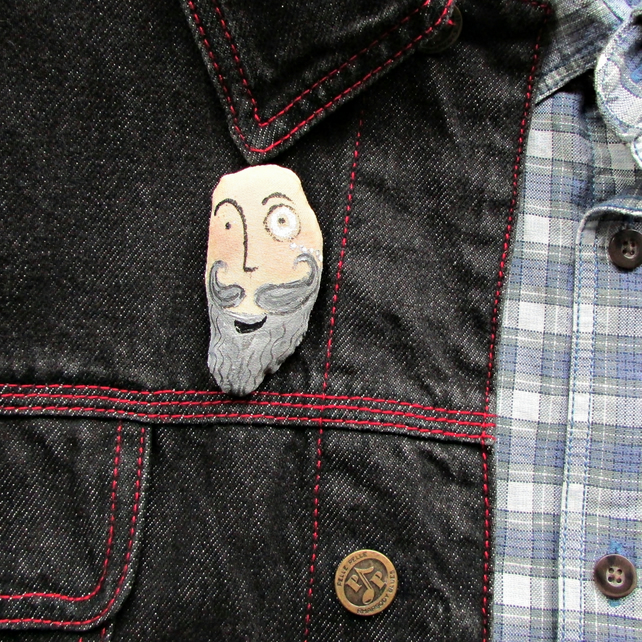The Bearded Man,Beard Brooch, Bookmark, Zip Pull, Magnet, , Monical