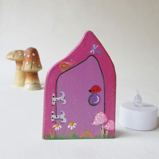 Small Fairy Door, Pink, for Nursery or Playroom, Whimsical Fairytale