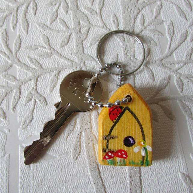 Key ring or zip pull yellow fairy door stocki folksy for Fairy door with key
