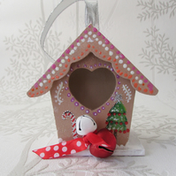 Hanging Gingerbread House Decoration for the Christmas Tree