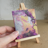 Small Fluid Painting on canvas and with an easel