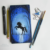 Unicorn in the Moonlight, Silhouette Unicorn, Acrylic painting on Wood