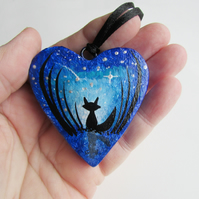 Fox Hanging Heart, Fox in Moonlight wooden heart