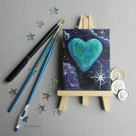 Earth Heart Canvas & Easel for desk or shelf, Earth & Star Small Canvas Desk Art