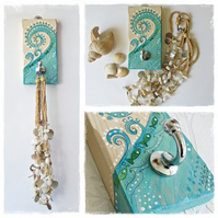 Key or Jewellery Hook plaque, blue wave and fishes