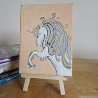 White Fairy tale Unicorn on a Creamy Peachy Background