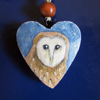 Barn Owl Hanging Heart
