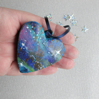 Hanging Heart, Galaxy wooden heart, Space and Stars