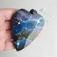 Galaxy in Miniature Hanging Heart, Stars and Space wooden heart