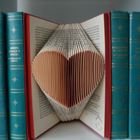 Folded book art-small heart in RED-Christmas stocking filler for book lover