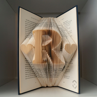 Personalized gift- Initial with hearts- folded book art-birthday Christmas gift
