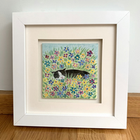 cat gift for cat lover, gift for cat owner, original cat painting on glass, cat