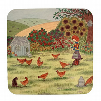 Drink coaster, gift for chicken lover, birthday present for chicken lover, chick