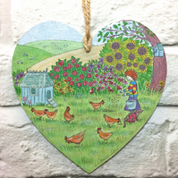 wall hanging plaque, chickens, chicken gifts for women, chicken art, gifts with