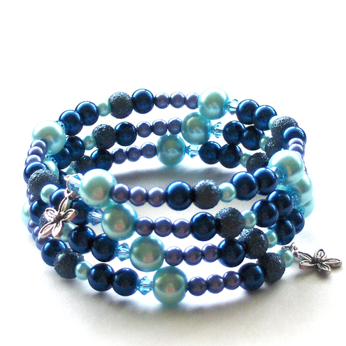 Blue Glass Pearl Memory Wire Bracelet