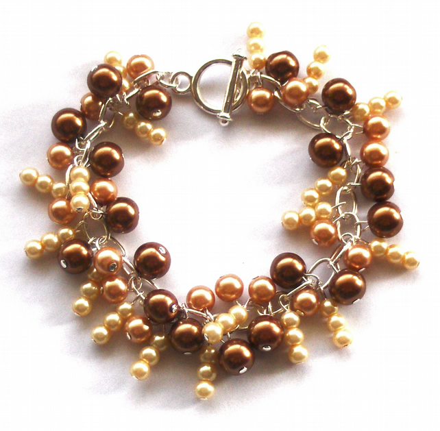 SALE, Bronze, Golden Yellow Pearl Bracelet, HALF PRICE