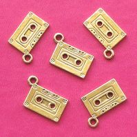 5 CASSETTE TAPE Charms, antique gold tone