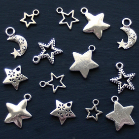 STAR Charm mix, 14 star charms, tibetan silver style, antique silver tone