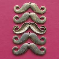 5 MOUSTACHE Charms, antique gold tone