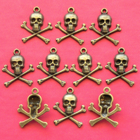 10 SKULL and CROSSBONE Charms, Antique Bronze Tone