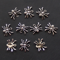 SPIDER Charms x 10, tibetan silver style, antique silver colour