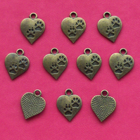 10 PAW PRINT HEART Charms, Antique Bronze Tone