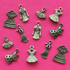 DRESS Charm mix, 6 designs, 12 x clothes charms, antique bronze tone