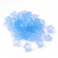 50 Sky Blue Lucite Acrylic Flower Beads