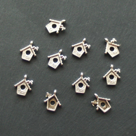 10 BIRD HOUSE Charms, tibetan silver style, antique silver colour