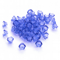 50 Transparent Blue Tulip Lucite Acrylic Flower Beads