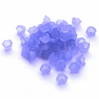 50 Translucent Matt Blue Tulip Lucite Acrylic Flower Beads