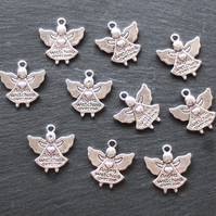 10 ANGEL Charms, tibetan silver style, angels watching over me