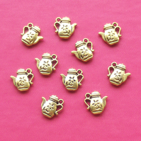 10 TEAPOT Charms, tibetan silver style, antique golden tone