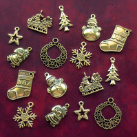 CHRISTMAS Charm mix, 16 x christmas charms, antique GOLD tone, santa, tree, star