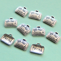 SUITCASE Charms x 10, antique silver tone, London, Paris