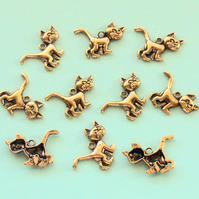 CAT Charms x 10, antique gold colour charm