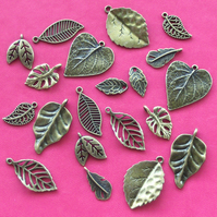 LEAF Charm mix, 20 charms, antique bronze tone, LEAVES