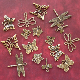 BUTTERFLY and DRAGONFLY Charm mix, 16 charms, antique bronze tone