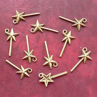 WAND Charms x 10, Antique Bronze Tone charm
