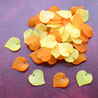 50 Orange and Yellow 15mm LEAF Beads, Lucite, Acrylic, Leaves, Bead Mix