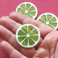 LIME slice Resin Beads Pendants, 5 x Green